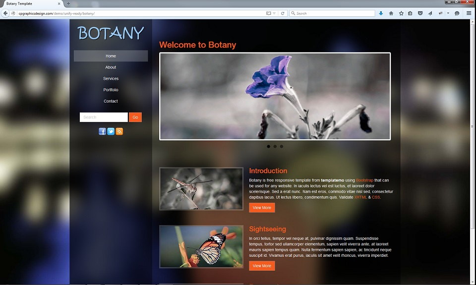 Botany Theme with on page editing snapshot