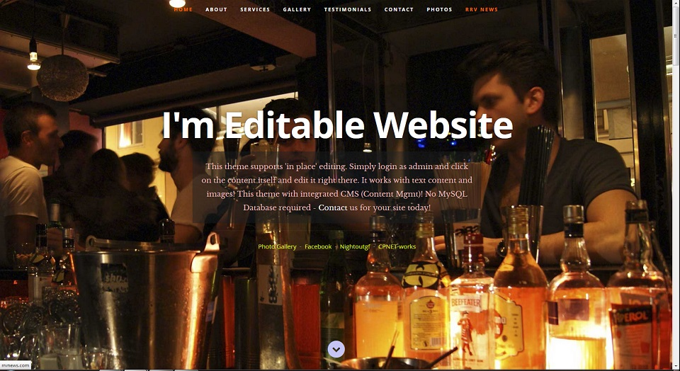 One page scrolling Theme with on page editing snapshot