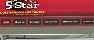 5 Star Collision & Glass Center website snapshot